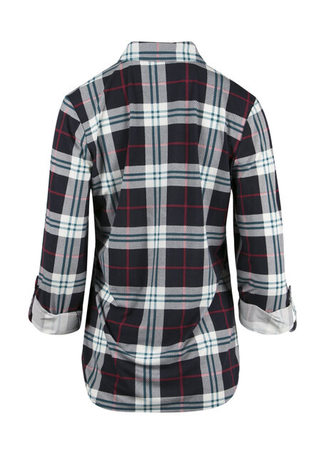 Ladies' Relaxed Knit Plaid Shirt, NAVY, hi-res