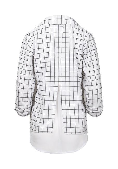 Women's Plaid Chiffon Back Blazer, WHITE, hi-res