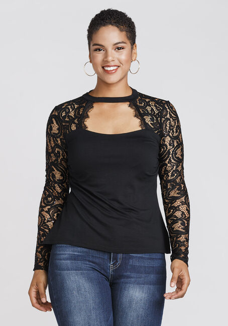 Women's Sweetheart Lace Top, BLACK, hi-res