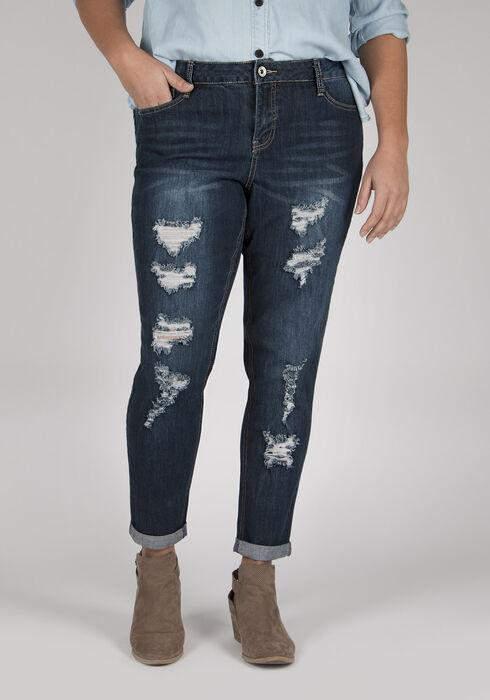 Ladies' Plus Size Skinny Jeans, DARK VINTAGE WASH, hi-res