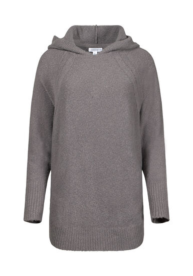 Women's Hooded Tunic Sweater, GREY MELANGE, hi-res