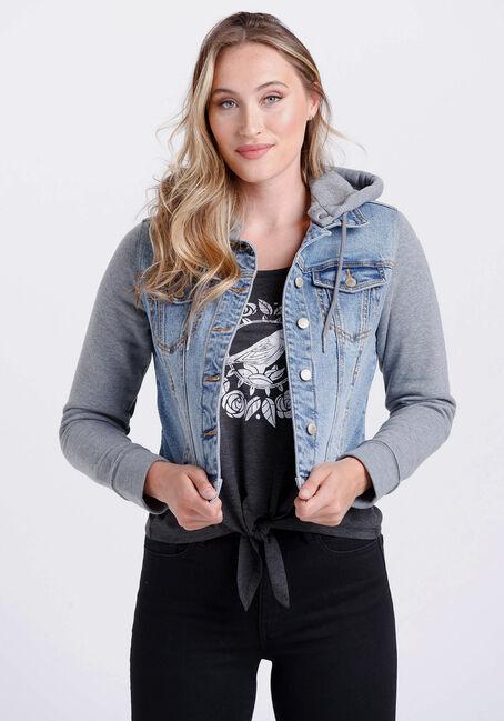 Women's Fleece Sleeve Jean Jacket