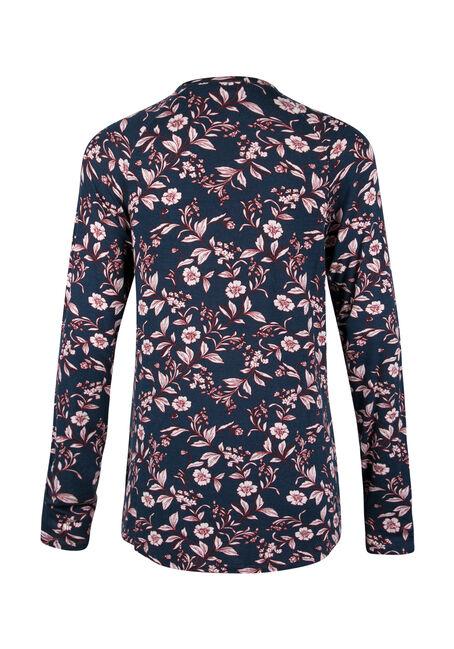 Ladies' Floral Wrap Front Bubble Top, MOONLIGHT BLUE, hi-res