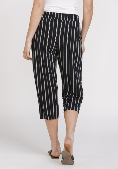 Women's Stripe Cropped Wide Leg Capri, BLK/WHT, hi-res