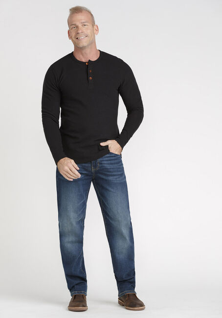 Men's Henley Rib Knit Tee, BLACK, hi-res