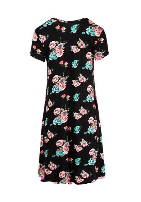 Ladies' Floral A-Line Dress, BLACK/MINT, hi-res