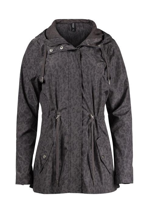Women's Hooded Leopard Anorak Jacket, CHARCOAL, hi-res
