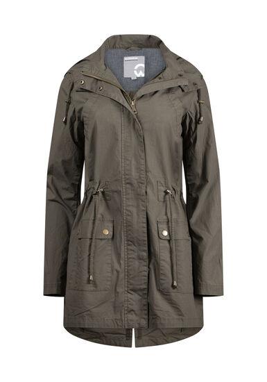 Women's Hooded Anorak Jacket, LIGHT OLIVE, hi-res