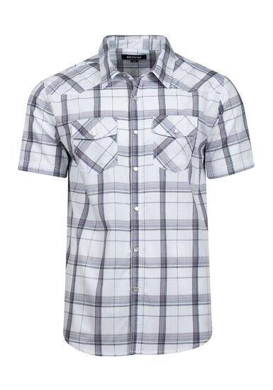 Men's Tonal Plaid Relaxed Fit Shirt, WHITE, hi-res