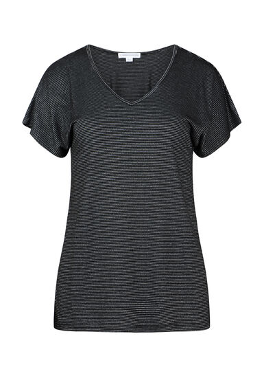 Women's Shimmer Stripe Tee, BLACK, hi-res