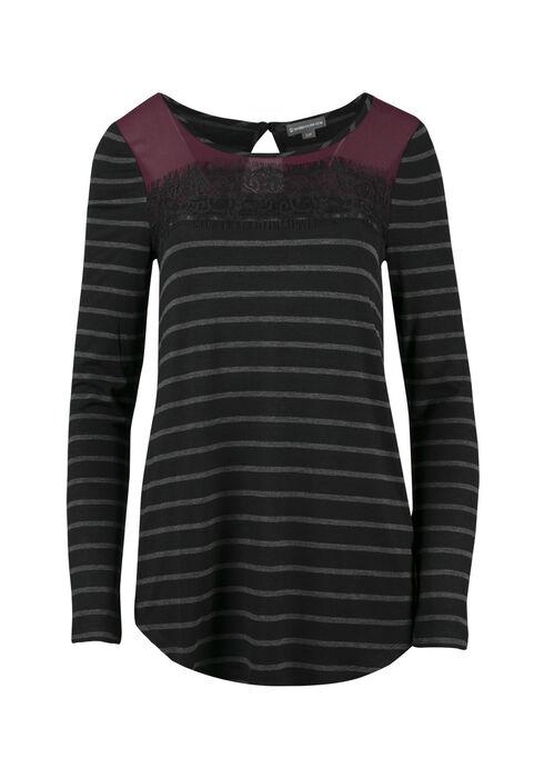 Ladies' Colour Block Stripe Top, WINE, hi-res