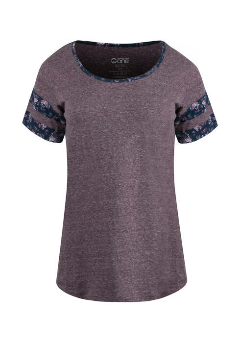 Women's Floral Stripe Football Tee, DEEP ORCHID, hi-res
