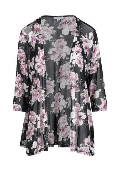 Women's Mesh Floral Kimono, MULTI, hi-res