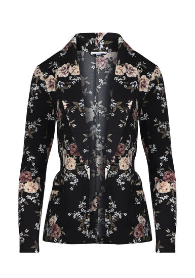 Women's Floral Blazer, BLACK, hi-res