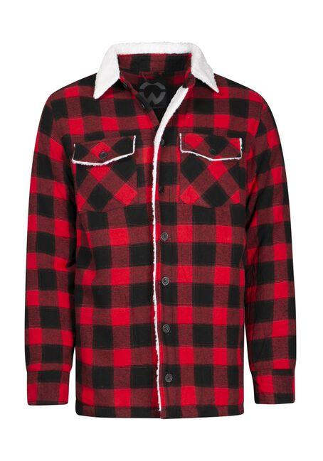 Men's Sherpa Lined Jacket, RED, hi-res