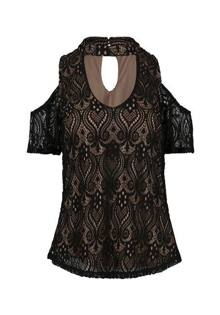 Ladies' Lace Overlay Cold Shoulder Top
