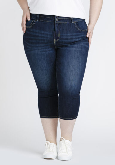 Women's Plus Size High Rise Skinny Capri, DARK WASH, hi-res