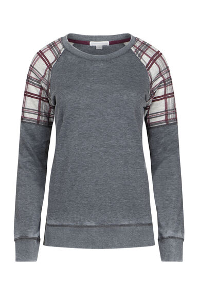 Women's Plaid Insert Crew Neck Fleece, BLACK, hi-res
