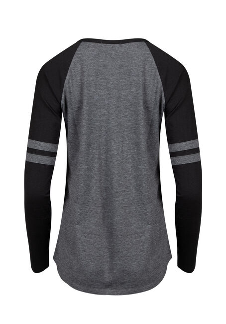 Women's Burnout Football Tee, BLK/GREY, hi-res