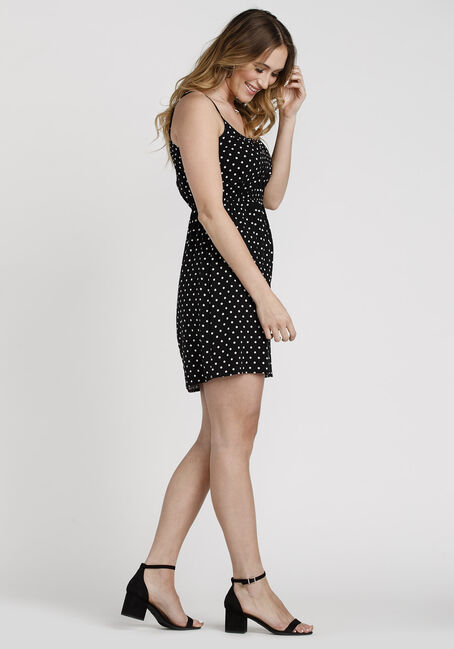 Women's Polka Dot Keyhole Dress, BLK/WHT, hi-res