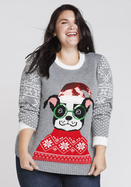 Women's Puppy Holiday Sweater, GREY, hi-res