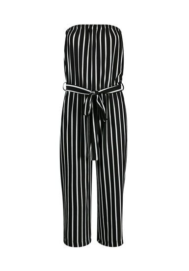 Women's Strapless Jumpsuit, BLK/WHT, hi-res
