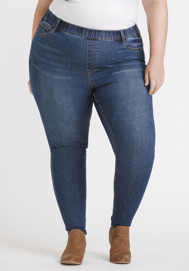 "Women's Plus Size Pull-on Skinny Jeans 29"", MEDIUM WASH, hi-res"
