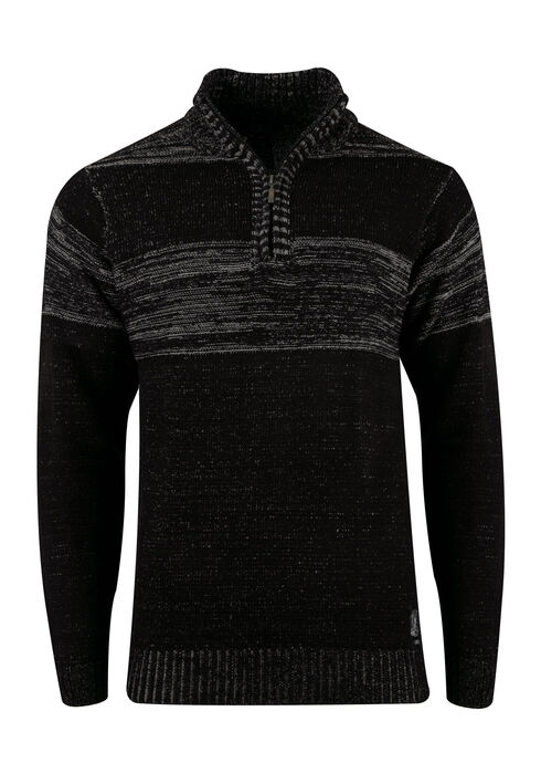 Men's Chest Stripe Sweater, BLACK, hi-res