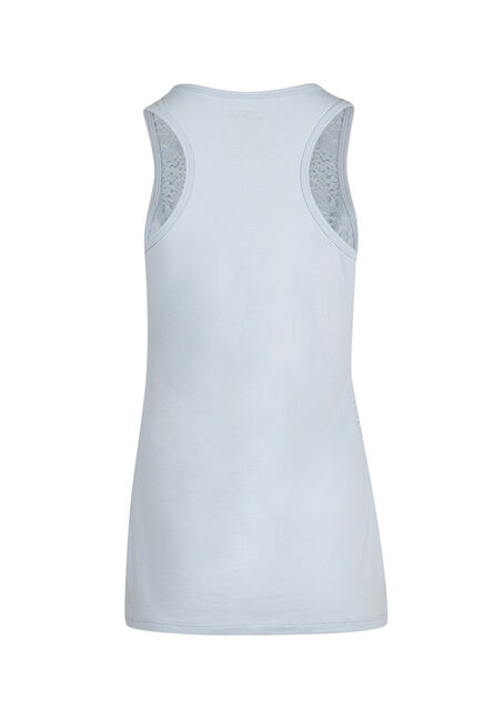 Ladies' Lace Front Tank, POWDER BLUE, hi-res