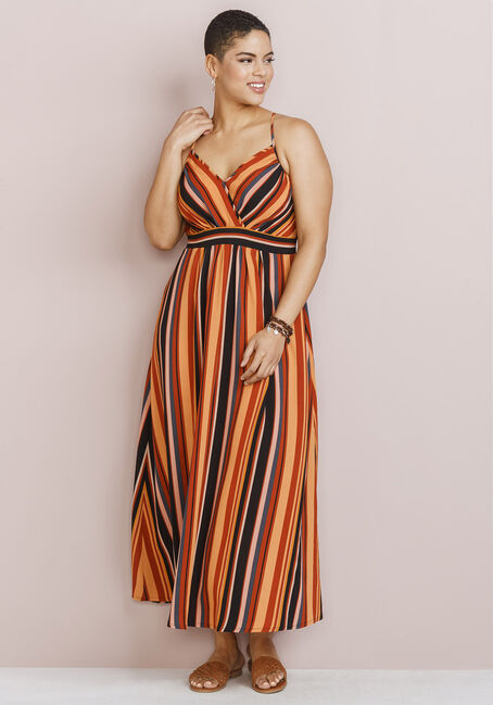 Women's Stripe Maxi Dress, RUST COMBO, hi-res