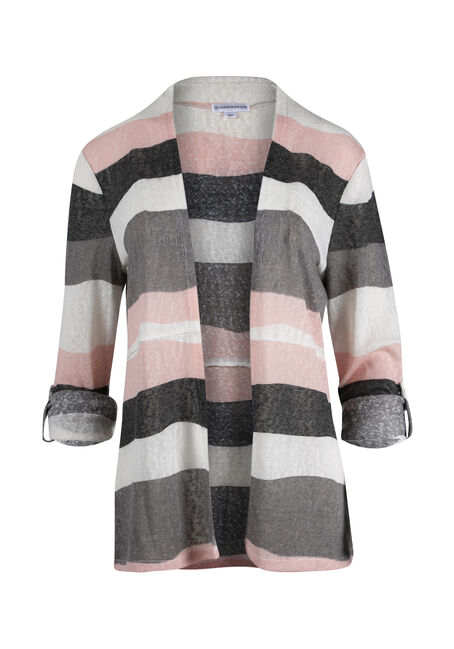Ladies' Stripe Roll Sleeve Cardigan