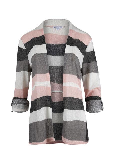 Women's Stripe Roll Sleeve Cardigan