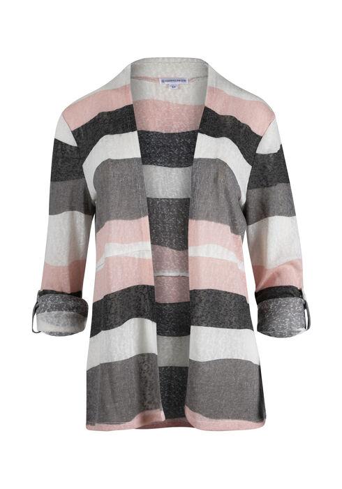 Ladies' Stripe Roll Sleeve Cardigan, MULTI, hi-res