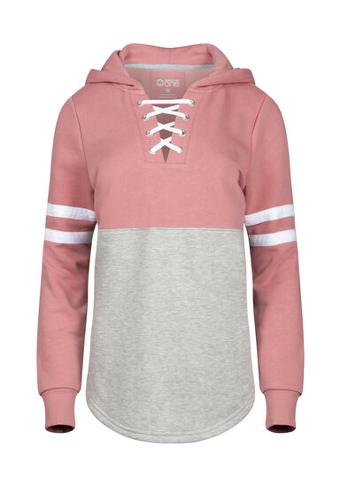 Women's Lace Up Football Hoodie, PINK, hi-res