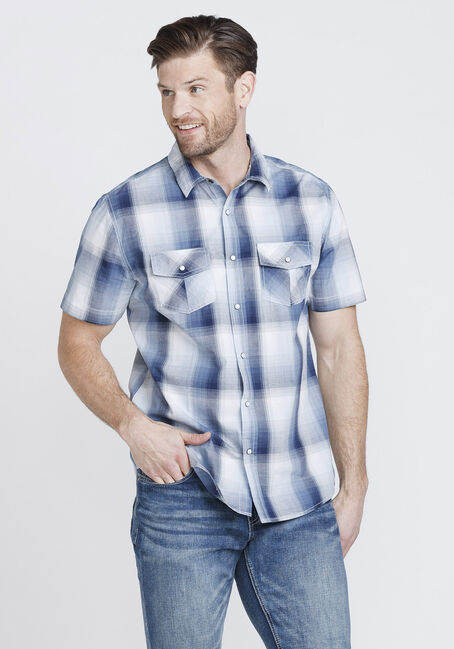 Men's 2-Pocket Plaid Shirt, BLUE, hi-res