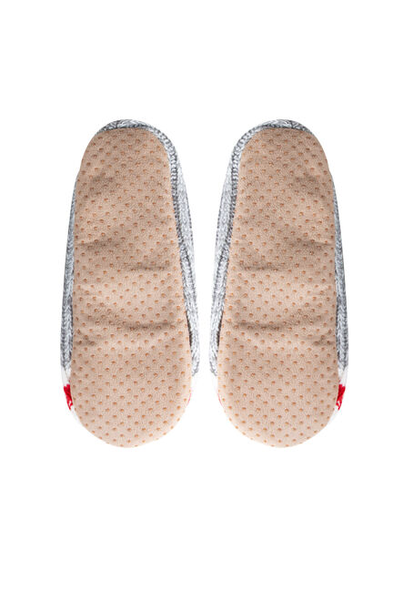 Ladies' Fuzzy Cabin Slippers, GREY, hi-res