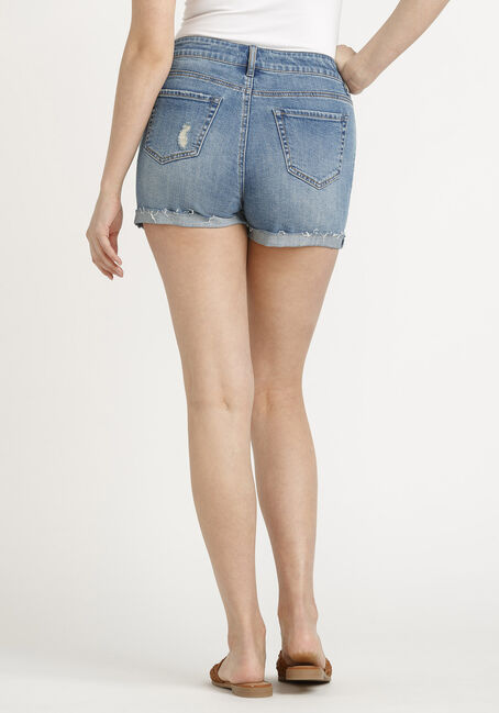Women's High Rise Exposed Button Fly Destroyed Cuffed Short, MEDIUM WASH, hi-res