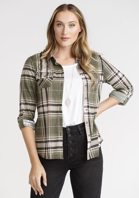Women's Olive & Pink Knit Plaid Shirt