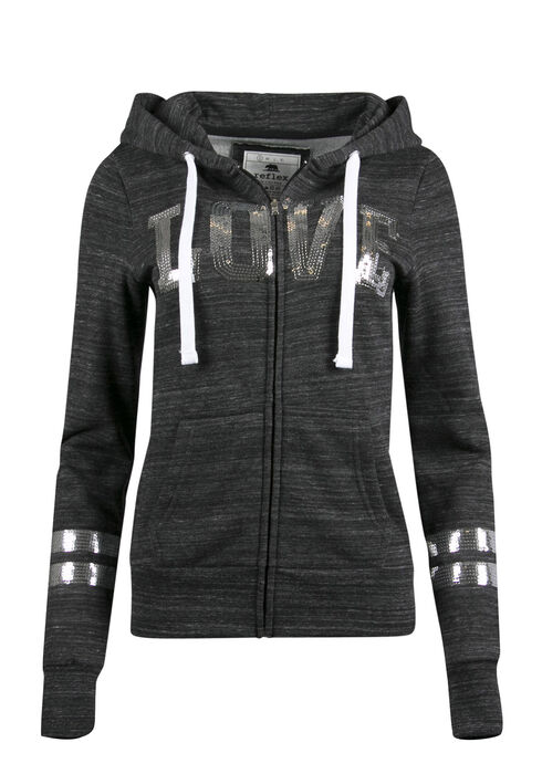 Ladies' Sequin Love Hoodie, MARLED BLACK, hi-res