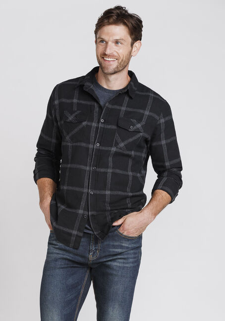 Men's Plaid Flannel Shirt, BLACK, hi-res