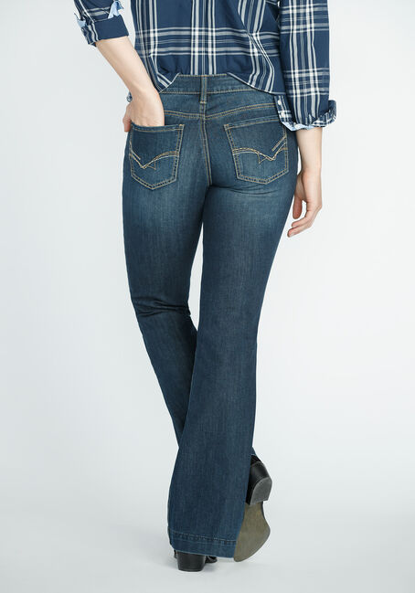 Ladies' Flare Medium Dark Jeans, MEDIUM VINTAGE WASH, hi-res
