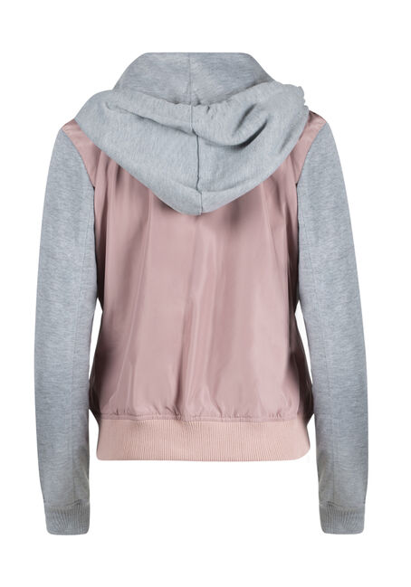 Ladies' Hooded Bomber Jacket, PINK, hi-res