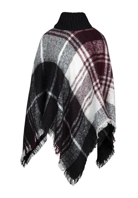 Women's Plaid Cowl Neck Poncho