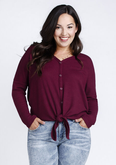 Women's V-Neck Tie Front Waffle Top, BURGUNDY, hi-res