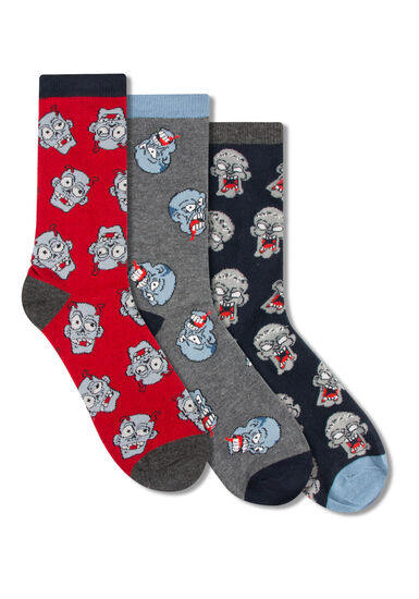 Men's 3 Pair Zombie Head Socks, BURGUNDY, hi-res