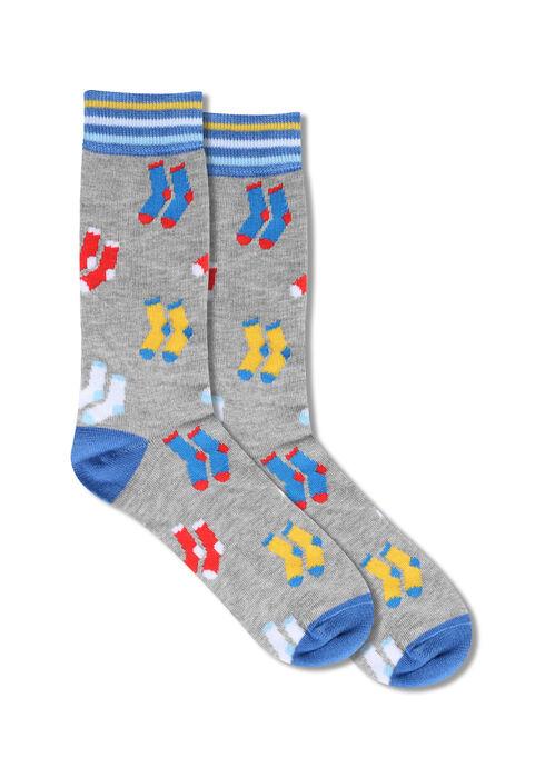 Men's Socks Crew Socks, LIGHT GREY, hi-res