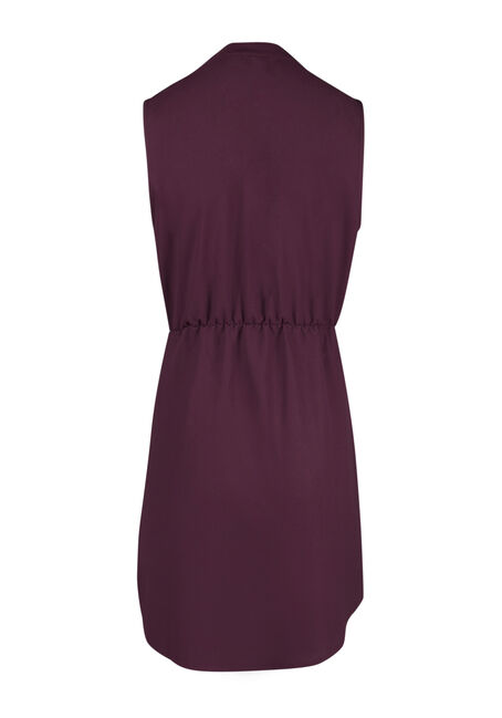 Ladies' Chiffon Shirt Dress, BURGUNDY, hi-res