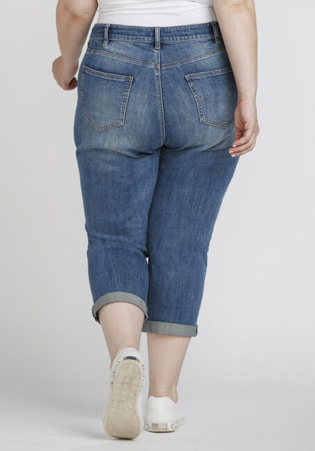 Women's Plus Size High Rise Distressed Cuffed Crop, DENIM, hi-res
