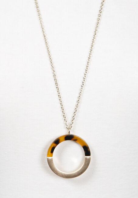 Women's Semi Circle Tortoise Necklace, GOLD, hi-res