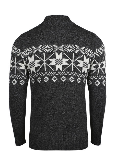 Men's Nordic Zip Front Sweater, CHARCOAL, hi-res